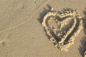 Heart on sand for valentine day — 图库照片