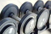 Dumbbells for weight lifting to exercise — Stock Photo