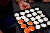 Making Japanese sushi traditional - japanese food — Stock Photo