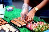 Making Japanese sushi traditional - japanese food — Fotografia Stock
