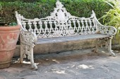 Vintage bench chair at the nature — Stock Photo