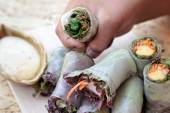 Vegetable salad wrapped into spring rolls delicious — Stock Photo
