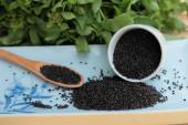 Basil seeds for fiber beverage and raw seed — Stock Photo