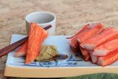 Crab sticks on a plate — Stock fotografie
