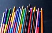 Colorful pencils - isolated on black background — Stock Photo