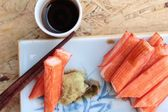 Crab sticks on a plate — Stock Photo