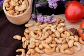 Roasted cashews nuts with natura — Stock Photo