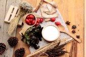 White yogurt and fresh cherry tomatoes — Stock Photo
