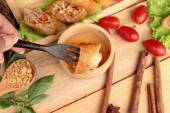 Fried spring rolls traditional for appetizer food. — Stock Photo