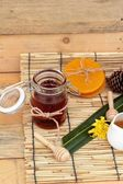 Honey variety with honeycomb and honey in a jar with beeswax. — Stock Photo