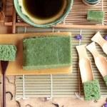 Green tea cake japanese dessert and green tea — Stock Photo #81171708