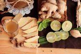 Ingwer-Wasser, Kräuter und frischer Ingwer mit Honig. — Stockfoto