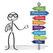 Signpost, Social Media — Stock Vector