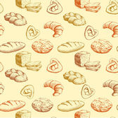 Bread. bakery seamless pattern. colorful background loaf, baguette, baked goods, croissant, cupcake, bagel. — Stock Vector