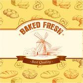 Bread. bakery seamless pattern. colorful background loaf, baguette, baked goods, croissant, cupcake, bagel. — Stok Vektör