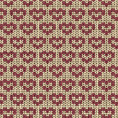 Seamless knitted pattern with red hearts — Stock Vector