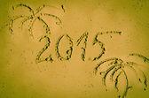 2015 written into sand — Stock Photo