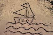 Boat drawn into sand — Stock Photo