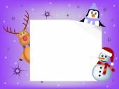 Penguin, reindeer and snowman concept — Stock Vector