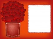 Red hearts valentines greeting card — Stock Photo