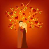 Couple illustration under tree — Stok Vektör