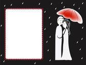 Couple under umbrella greeting card — Stock Vector