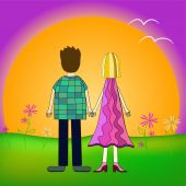 Girl and boy back view illustration — Stock Vector
