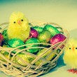 Chocolate easter eggs and hen — Stock Photo #63417991