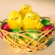 Chocolate easter eggs and hen — Stock Photo #63419205