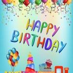 Happy birthday train greeting card — Stock Vector #64243651
