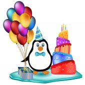 Penguin with cake, balloons and cake — Stock Vector