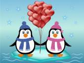 Penguin couple love concept — Vettoriale Stock