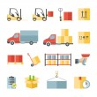 Warehouse transportation and delivery flat icons set — Stock Vector #61752877