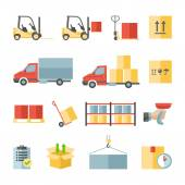 Warehouse transportation and delivery flat icons set — Stock Vector
