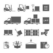 Warehouse transportation and delivery icons set — Stock Vector