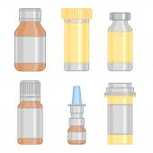 Drug bottle colorful line icons set — Stock Vector