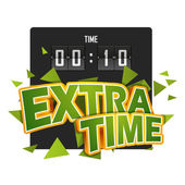 Extratime football vector illustration with scoreboard — Stock Vector