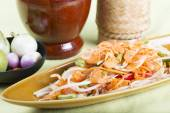 Thai Papaya salad topping with dry shrimp — Stock Photo