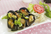 Thai food spicy Mussel  — Stock Photo