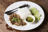 Stir fried pork with garlic serve with steam rice  — Stock Photo