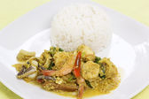 Seafood yellow curry powder stir Fried with steam rice  — Stock Photo