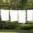 White towels drying on washing line — Stock Photo #55934081