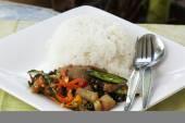 Pad Krapao Kha Moo spicy stir fried pork leg — Stock Photo