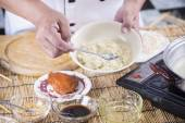 Chef cooking Noodle with seasoning sauce — Stock Photo