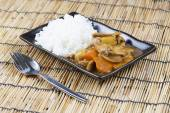 Chef putting stir fried Japanese pork curry to the pot — Stock Photo