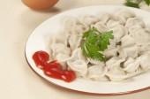 Meat dumplings (pelmeni)  — Stockfoto