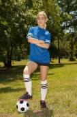женский футбол игрок — Стоковое фото