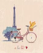De poster met de fiets en Frans stokbrood in vintage stijl. silhouet van de Eiffeltoren. — Stockvector