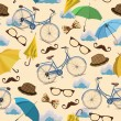 Seamless pattern with blue vintage bicycles, glasses, umbrellas, clouds, bows, hats, mustache on beige background. — Stock Vector #51970267