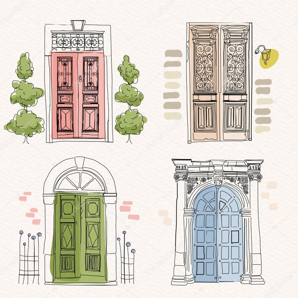 Puertas de madera en estilo vintage en fondo acuarela for Architecture antique